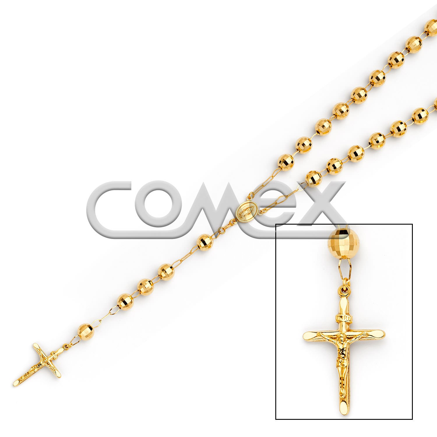 Diamond Cut Rosary Yellow (8.0mm)