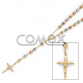 Diamond Cut Rosary Tri Color (8.0mm)