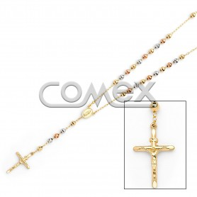 Diamond Cut Rosary Tri Color (5.0mm)