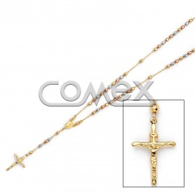Diamond Cut Rosary Tri Color (4.0mm)