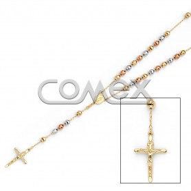 Diamond Cut Rosary Tri Color (6.0mm)